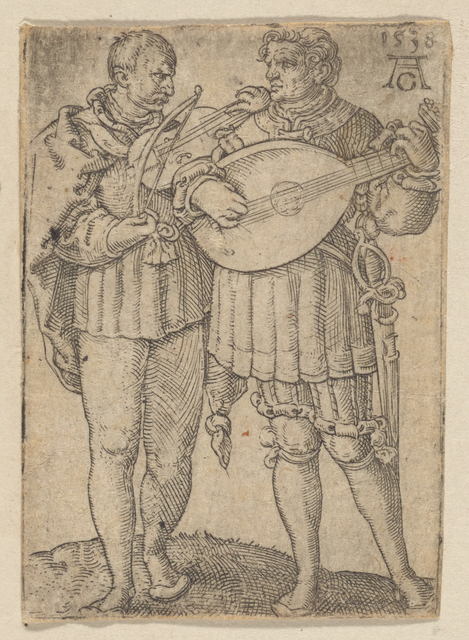 Two Musicians Playing the Violin and the Lute