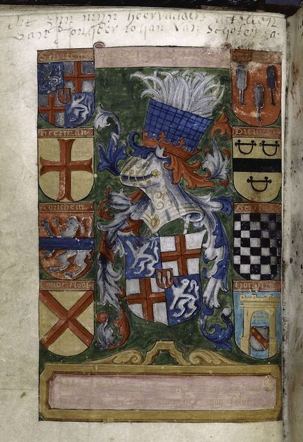 Coat of arms of early owner (Schoten arms), plus other coats of arms.