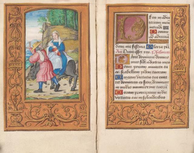 Miniature of Flight into Egypt; border dated 1544 in small plaques on the outer margins.