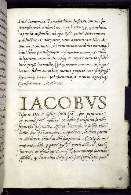 End of second document, opening of third, by Iacobus Pisauro, bishop of Pavia. Large initials.