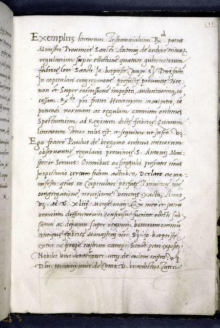 Hand 2, opening of first approval document, by Paulus da Bergamo, a Franciscan.
