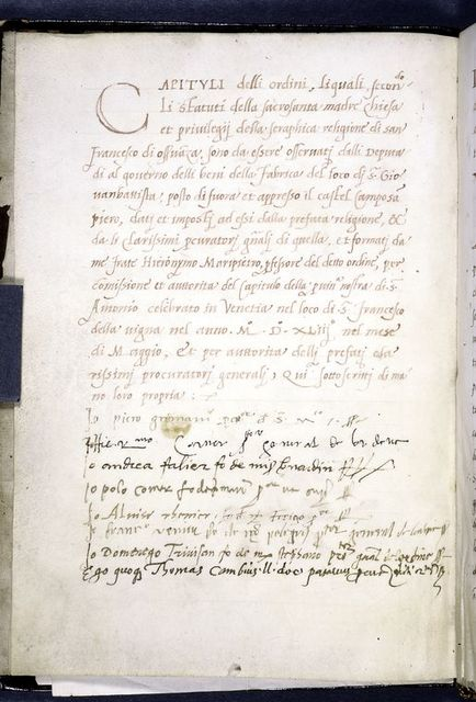 """Opening of the """"Capituli""""; rubric and large red initial.  Eight signatures at bottom. Hand 1."""