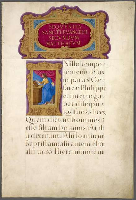 Opening of gospel of Matthew, with title and miniature of Matthew in elaborate borders.
