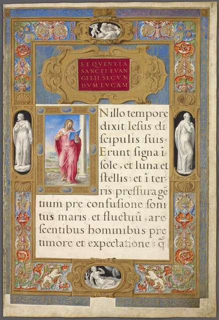 Small miniature of St. Luke.  Very elaborate frame-like border, with statue figures and multi-colored designs.  Opening of text of Luke.