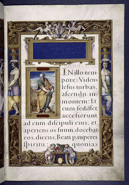 Title and opening of Gospel of Matthew.  Miniature of Matthew.  Elaborate full border with human figures.