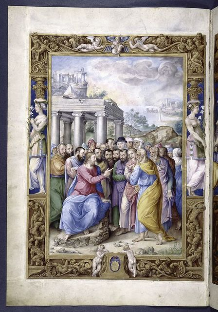 Full-page miniature of the Sermon on the Mount.  Elaborate full border with human figures.