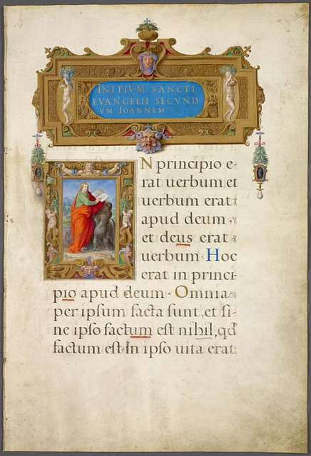 Title and miniature of St. John the Evangelist, both with elaborate framing including human figures.  Opening of text.  1-line gold and blue initials.