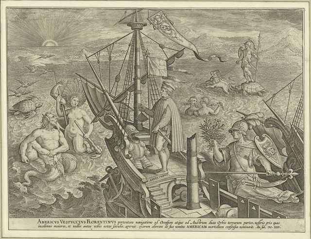 Americvs Vespvccivs florentinvs portentosa navigatione ad occasum atque ad austrum duas orbis terrarum partes, nostris oris quas incolimus maiores,...