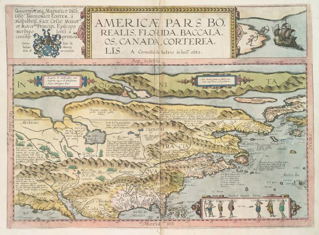 Americae pars borealis, Florida, Baccalaos, Canada, Corterealis.
