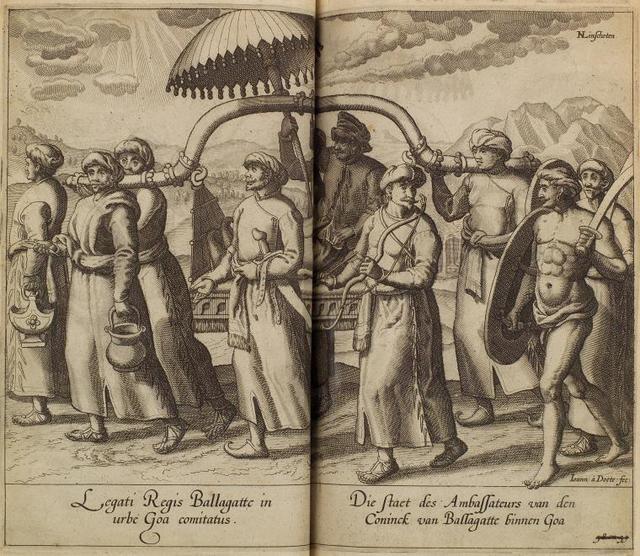Legati Regis Ballagatte in urbe Goa comitatus = Die staet des Ambassateurs van den Coninck van Ballagatte binnen Goa.