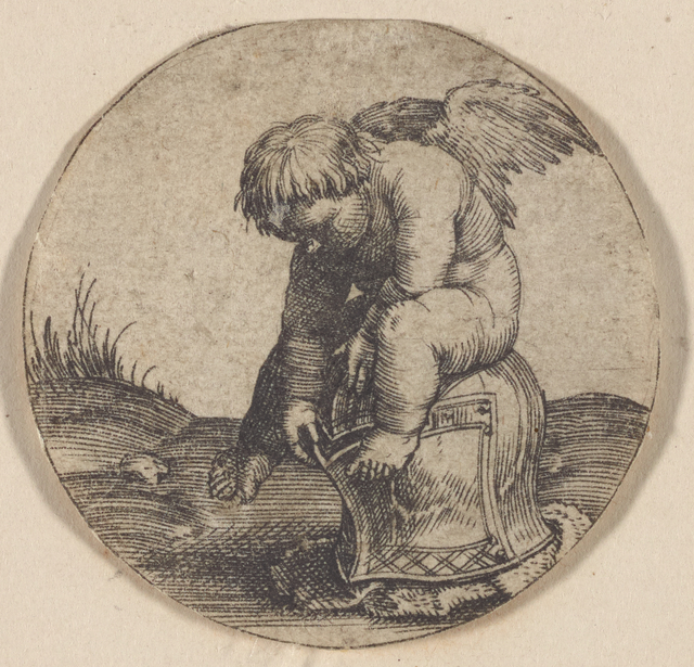 Cherub on a helmet
