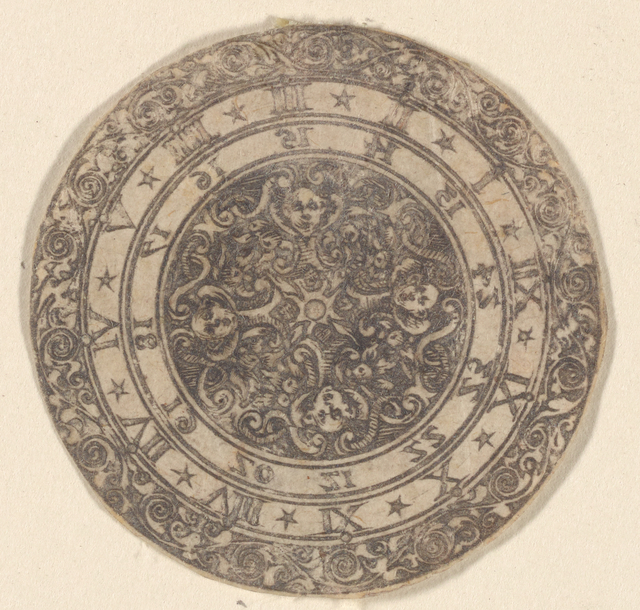 Circular ornamental design with Roman numerals 1-12 and 13-24 in reverse as on a dial