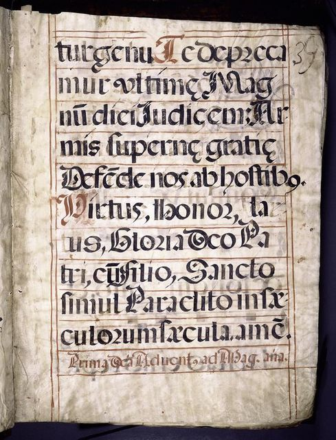 Incipit of text.  Large black initial.  Four lines of text and four of music.