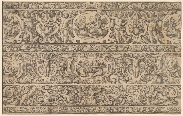 Ornament with cherubs, hares and fruit