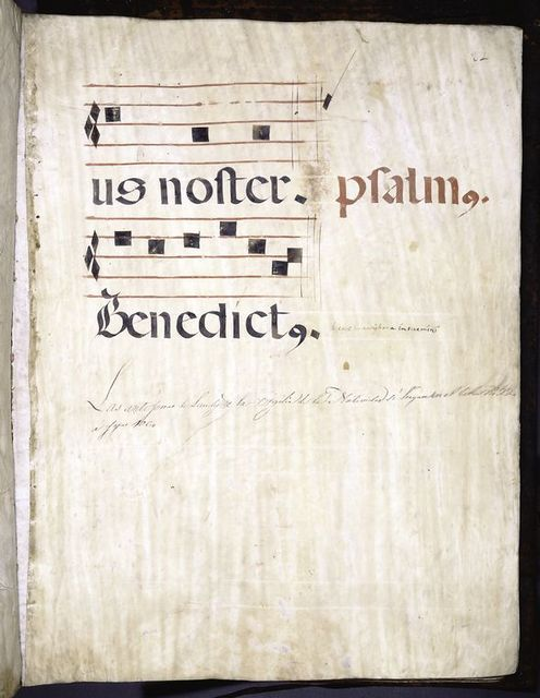 Page with modern note.  Marginal note:  psalmus.