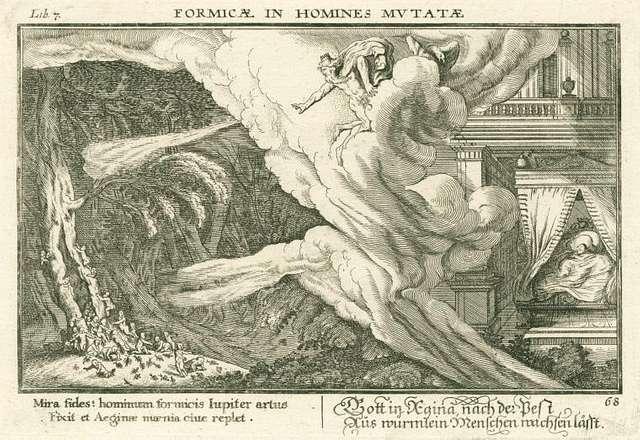Mira fides: hominum formicis Iupiter artus Fixit et Aeginae maenia ciue replet