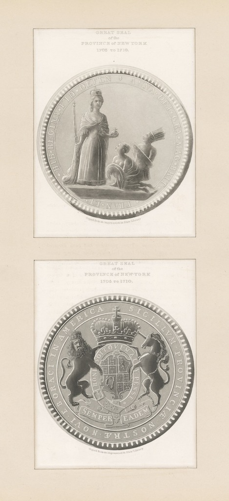 Great seal of the province of New York 1705 to 1710