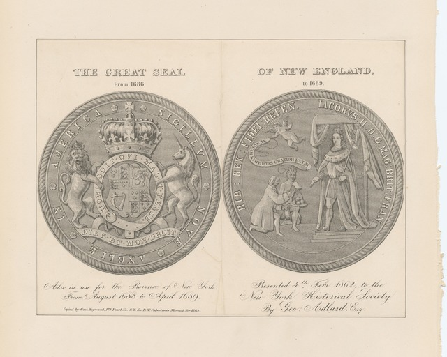 The great seal of New England from 1686 to 1689