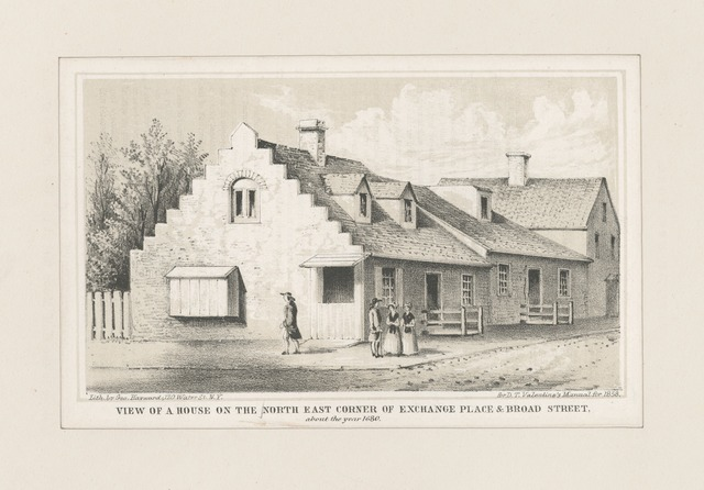 View of a house on the north east corner of Exchange Place & Broad Street about the year 1680