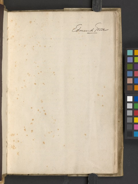 [The Westmoreland manuscript of the poems] (Blank page with autograph by Edmund Gosse)