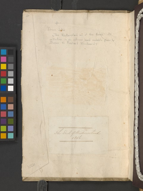 [The Westmoreland manuscript of the poems] (Front cover inside)