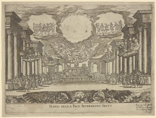 Tenpio [sic] della pace, Intermedio sesto: Come: rapp. nelle nozze del Sermo. Principe de Toscana, Jan. 1608. Giulio Parigi i. et f