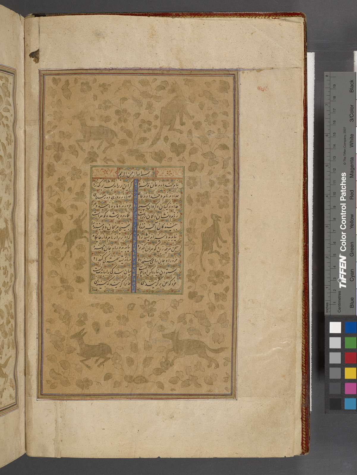 """Title page] [Sarlawh?] with """"marginal drawings of gold plants, trees, and animals""""."""