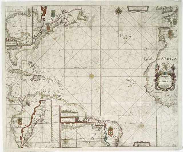 Paskaart van Guinea, Brasilien en Westindien.