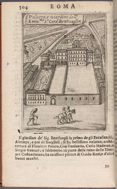 Palazzo e giardino dell'emin.mo S.r Card. Bentivoglio page 504