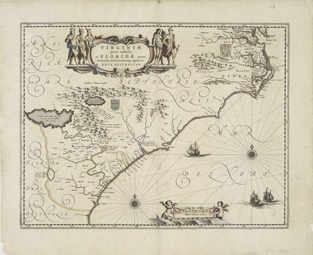 Virginiae partis australis, et Floridae partis orientalis, interjacentiumq[ue] regionum nova descriptio.