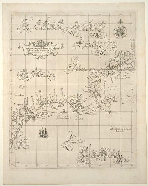 Carta particolare della Nuoua Belgia e parte della Nuoua Anglia.