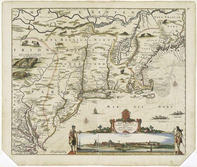 Novi Belgii Novaeque Angliae nec non partis Virginiae tabula multis in locis emendata.
