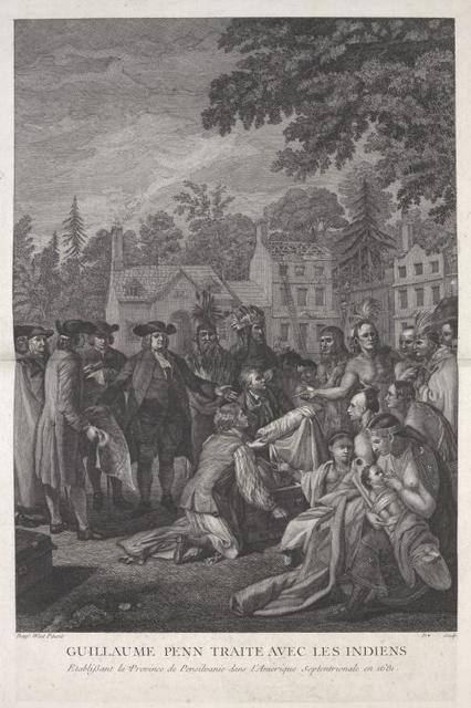 Guillaume Penn traite avec les indiens etablissant la province dans l'Amerique septentrionale.