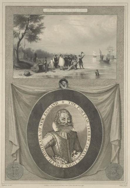 Landing at Jamestown ; The portraictuer of Captayne John Smith, admirall of New England.