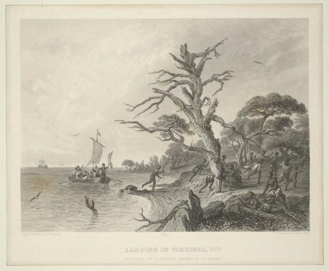 Landing in Virginia, 1584.