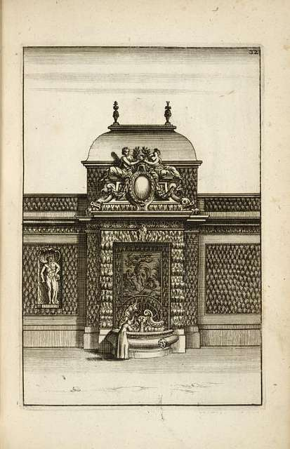 Large fountain structure with single basin; woman shown using fountain.