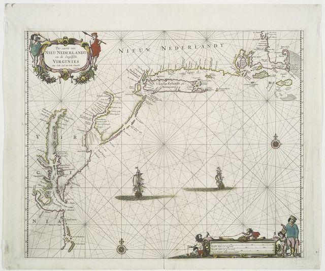 Pas caerte van Nieu Nederlandt en de engelsche Virginies van Cabo Cod tot Cabo Canrick [Cape Hatteras].