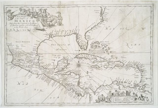 A new mapp of the Empire of Mexico describing the continent to the Istmus of Panama : together with all the islands in the North Sea