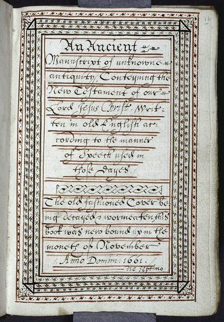 Note of contents and dating the binding to November 1661.