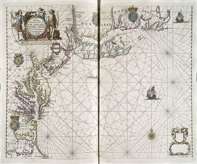 A chart of the sea coasts of New-England, New-Jarsey, Virginia, Maryland and Carolina : from C. Cod to C. Hatteras
