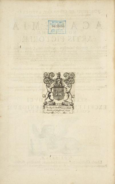[Coat-of-arms bookplate.] The right honorable Francis North Baron of Guilford 1703 [...]