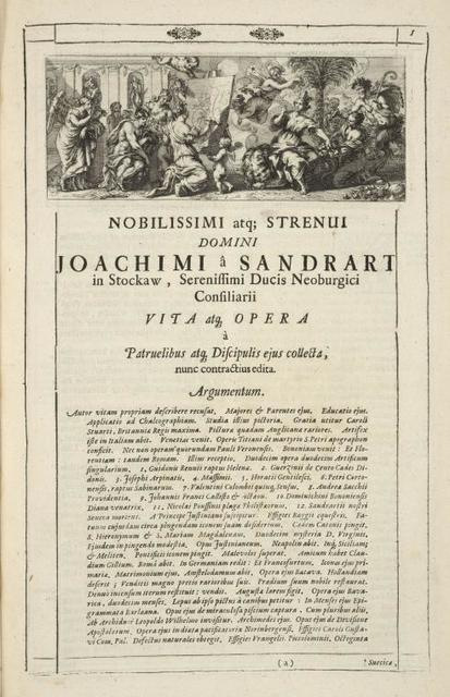 [Head-piece.] Nobilissimi atq; Strenui Domini Joachimi â Sandrart in Stockaw, Serenisi mi Ducis Neoburgici Consiliari Vita atg opera [...] Argumentum.