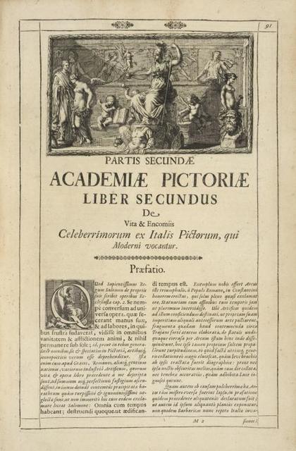 [Head-piece.] Partis Secundæ Academiæ Pictoriæ Liber Secundis de vita & encomiis [...]