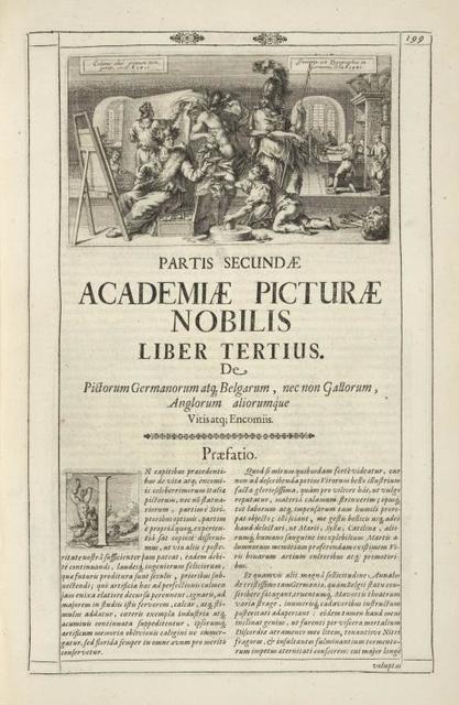 [Head-piece.] Partis Secundæ Academiæ Picturæ Nobilis Liber Tertius.