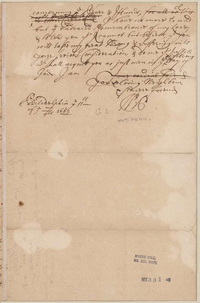 Penn, William. Philadelphia. To Governor Samuel Jennings and Council of West Jersey