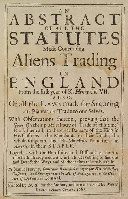 An abstract of all statutes made concerning aliens tradingin England from the first year of K. Henry the VII, title page