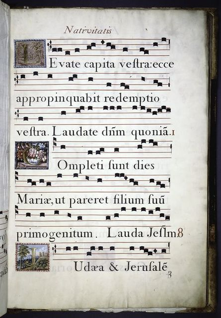 7 lines of music and 7 of text.  Gold initials on multi-colored backgrounds showing various scenes.  Rubric.