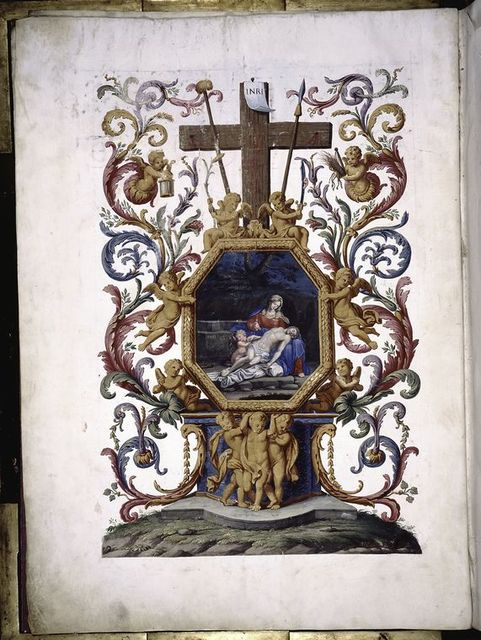 Full page decoration with cross, painting of Pieta, etc.