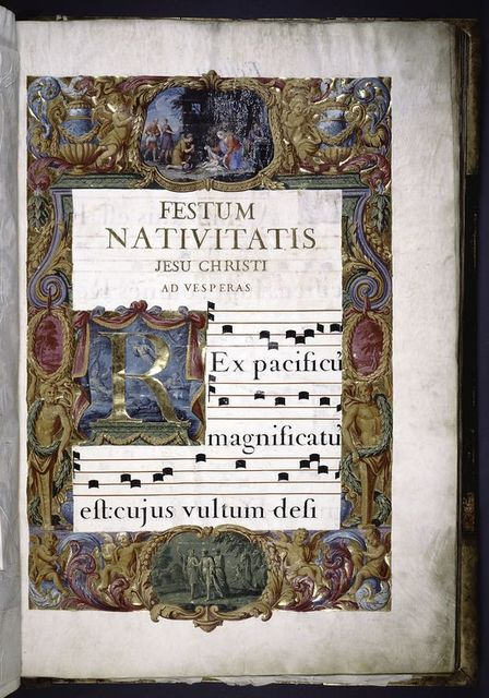 Opening of text.  Full illuminated border.  Rubric and gold lettering.  Large gold initial on illuminated field.  Three lines of music and text.