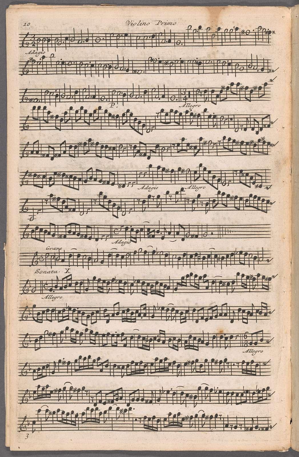 Suonate a tre : due violini e violone col basso perl organo: opera prima